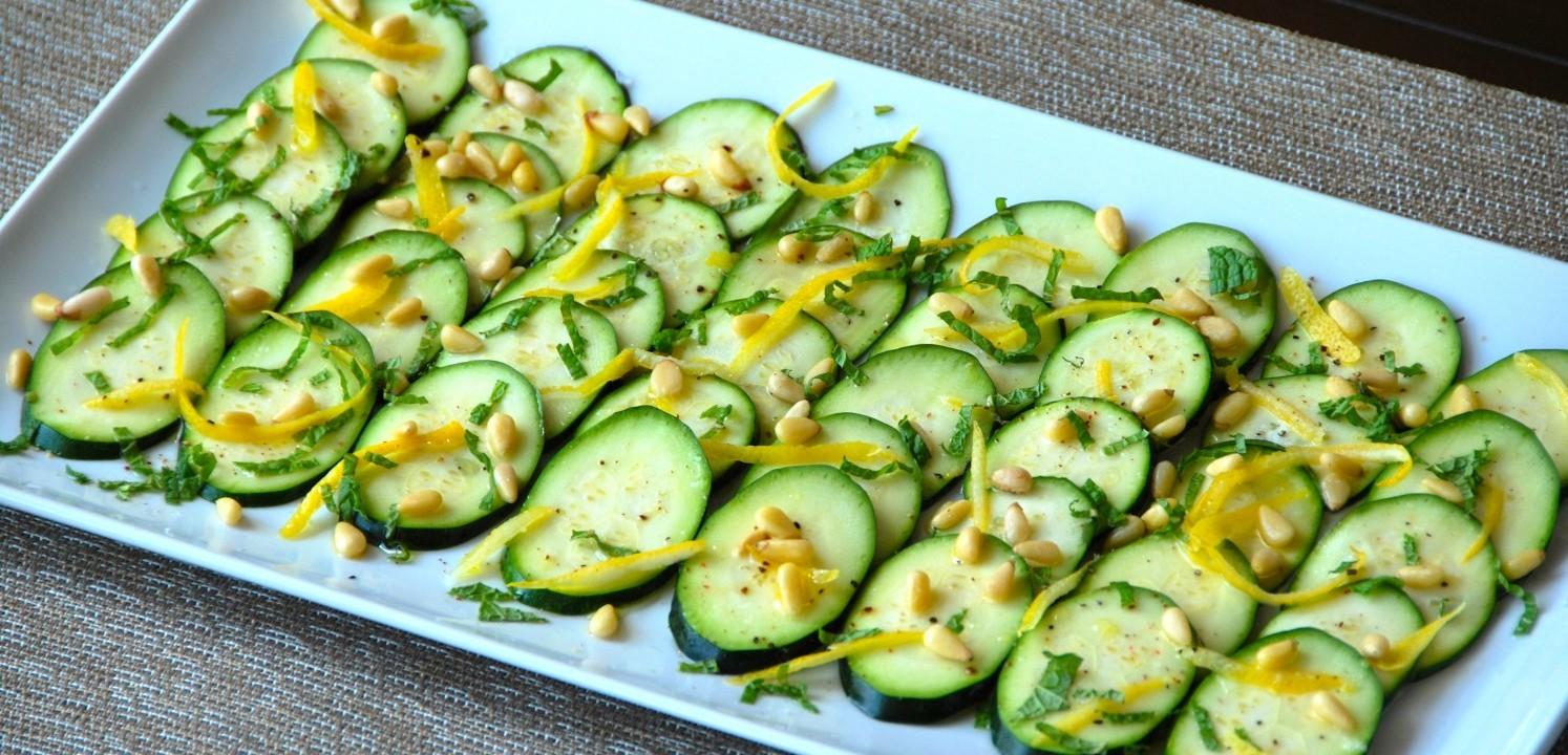 Zucchini Carpaccio with Mint & Pinenuts
