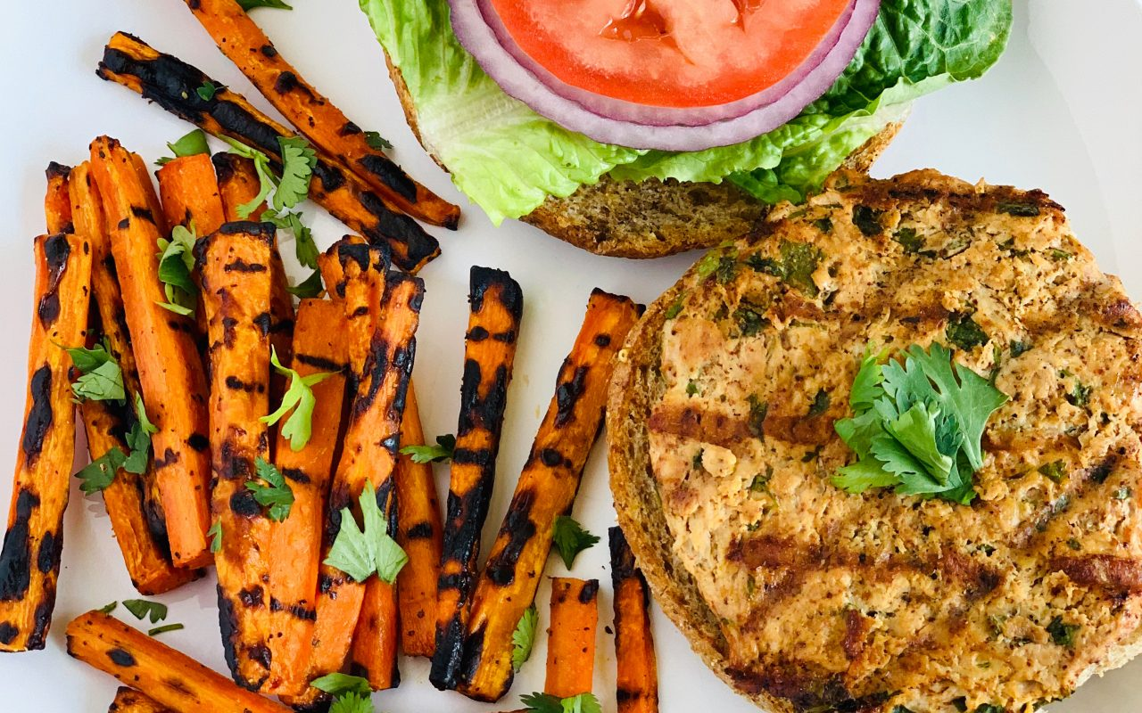 Chili-Lime Chicken Burgers & Carrot Fries