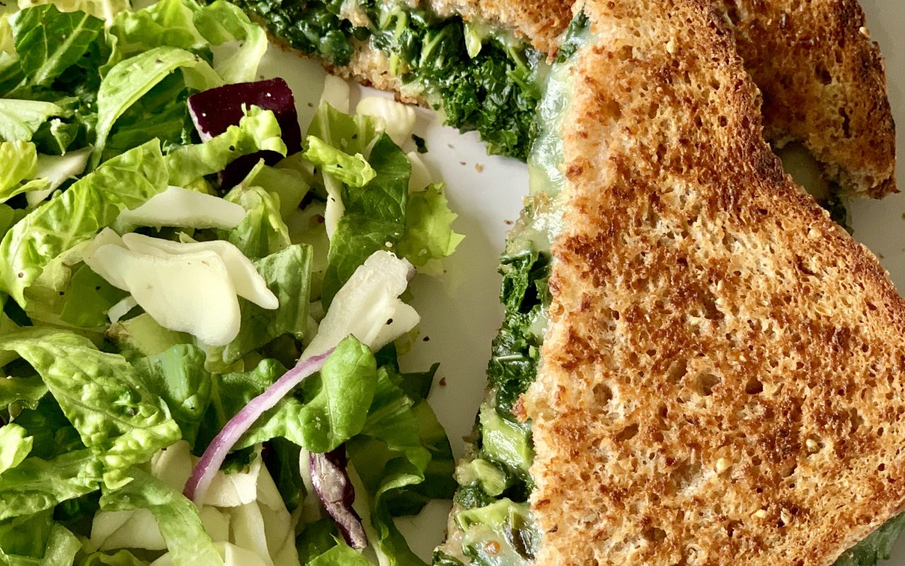 Kale Grilled Cheese & Simple Salad